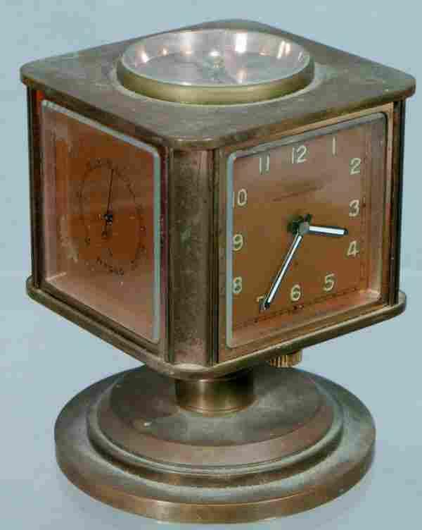 352: Angelus weather station brass desk clock retailed