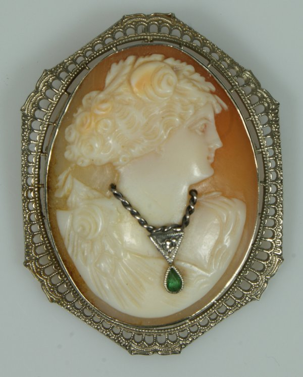 6: Carved shell cameo pin in 10K WG filigree setting, 1