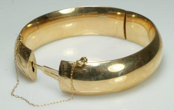 13: 14K YG engraved bangle bracelet, 18.7 dwt