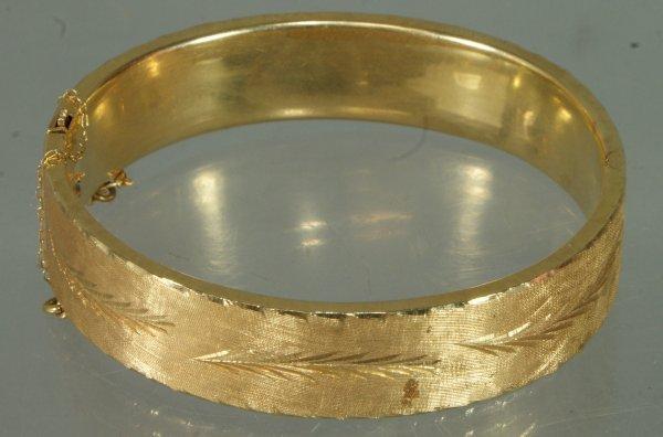 14: 14K YG engraved bangle bracelet, 11.6 dwt