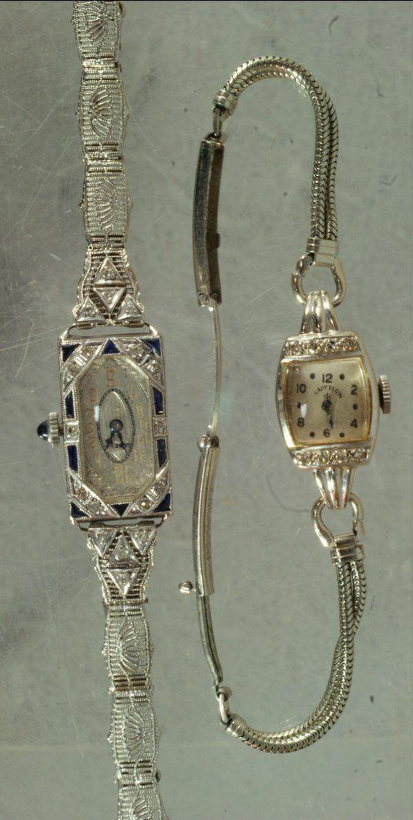 18K WG art deco ladies wrist watch, case set with b