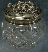 85 Cut glass dresser jar with sterling silver art nouv