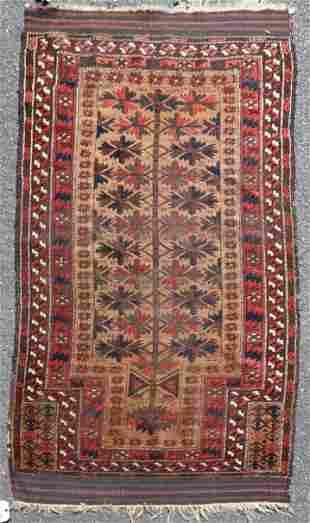 """2'8"""" X 5' Antique Baluch Prayer Rug"""