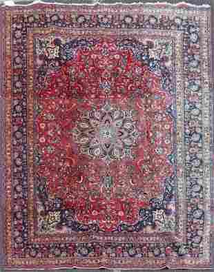 """9'8"""" X 12'8"""" Semi Antique Persian Mashad Rug"""