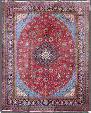 "8'7"" X 13' Semi Antique Persian Kashan Rug"