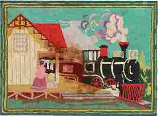Oversized steam engine hooked rug