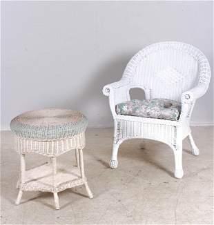 White wicker armchair, wicker side table