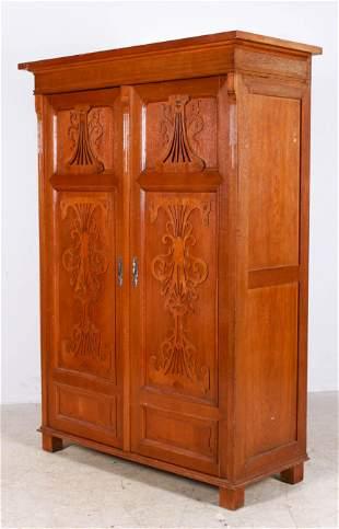 Victorian style carved walnut 2-door wardrobe