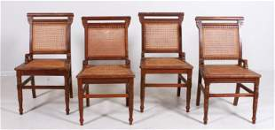(4) Victorian Eastlake walnut and caned side chairs