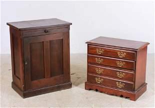 Walnut paneled end table, Mahogany 3-drawer end table
