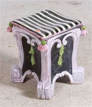 Victorian Majolica stool, late 19th c