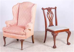 Council Chippendale style side chair, wing chair