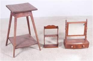 Oak 2-tier lamp table, Mahogany Sheraton shaving mirror