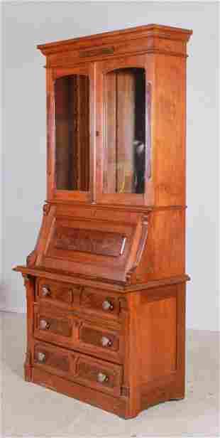 Victorian walnut 2-pc secretary desk