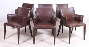 (6) Modern Design leather wrapped dining chairs