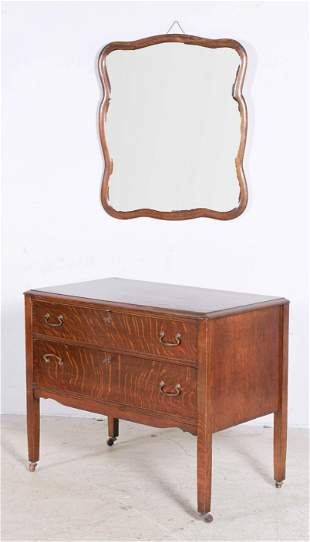 Oak carved 2-drawer chest with mirror