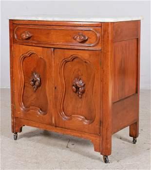 Victorian walnut marbletop washstand