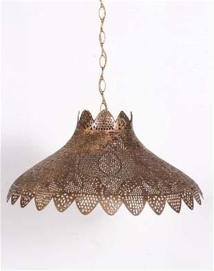Pierced gilt metal hanging light