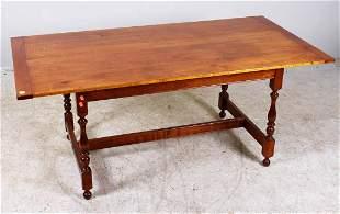 Figured maple stretcher base farm table