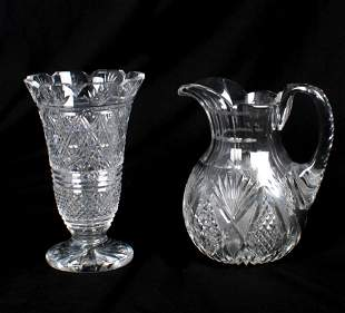 Waterford Vase and Cut Crystal Pitcher