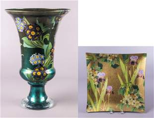 Scott Potter Decoupage Vase and Tray