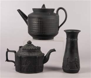 (3) Pcs Black Basalt Teapots and Vase