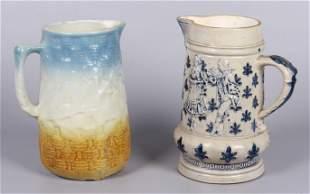 (2) Stoneware pitchers