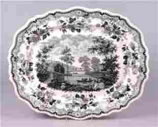 Historical Staffordshire Transfer Platter Albany NY