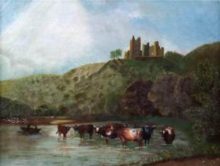 19th C Continental Landscape with Cows