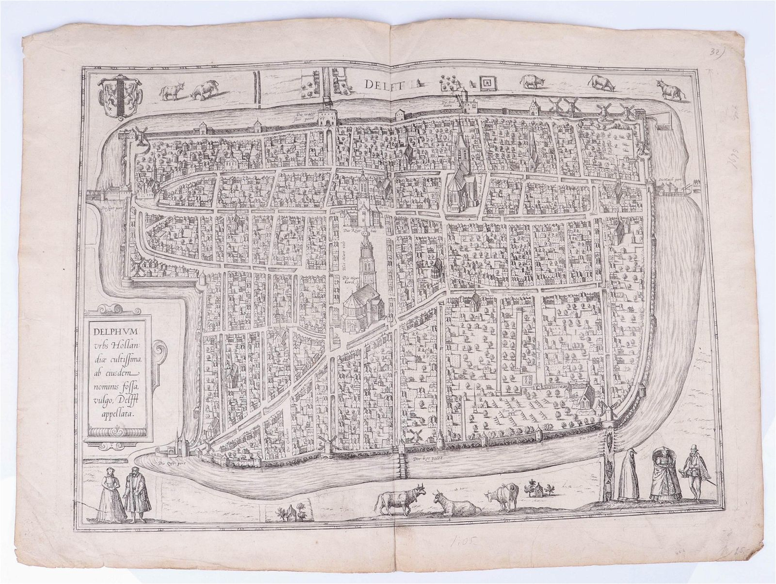 Early Engraved Map of Delft