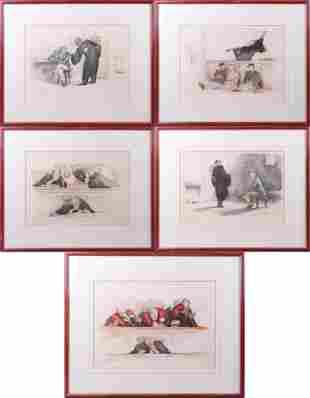 (5) Gaston Hoffmann Color Etchings