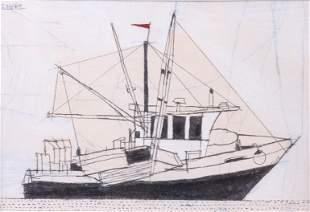 """Joseph Hart """"Boat at Rock Harbor"""""""