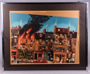 """Michel Delacroix Lithograph """"L'Incendie Paris"""""""