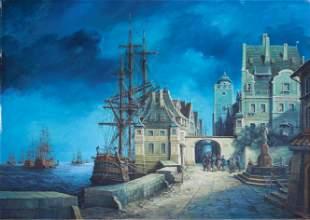"A A Welinski ""Ships in Harbor"""