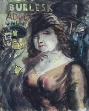 "Aaron Sopher Ashcan Painting ""Burlesk #1"""