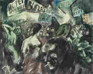 "Aaron Sopher Ashcan Painting ""Burlesk #2"""