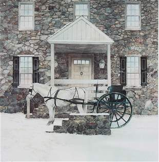 """Peter Sculthorpe Lithograph """"Evening Visit"""""""