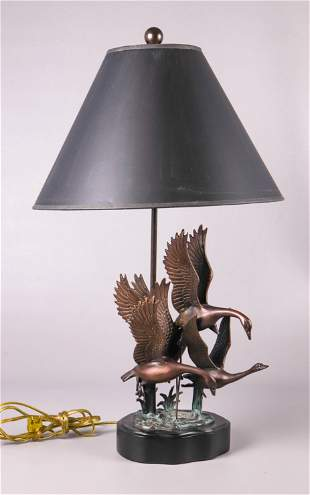 Bronze Patinated Flying Geese Table Lamp