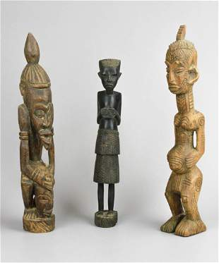 (3) Carved Wood African Figures