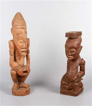 (2) Carved Wood Congo Africa Figures