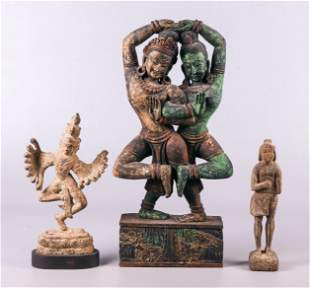 (3) Indian Wood and Pottery Figures