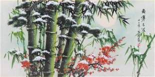 Large Chinese Watercolor on Silk
