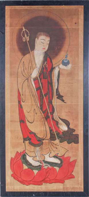 Large Asian Scroll Painting of a Wise Man