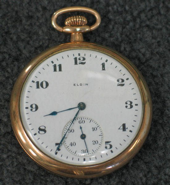 1020A: Elgin gold-filled open faced pocket watch, size