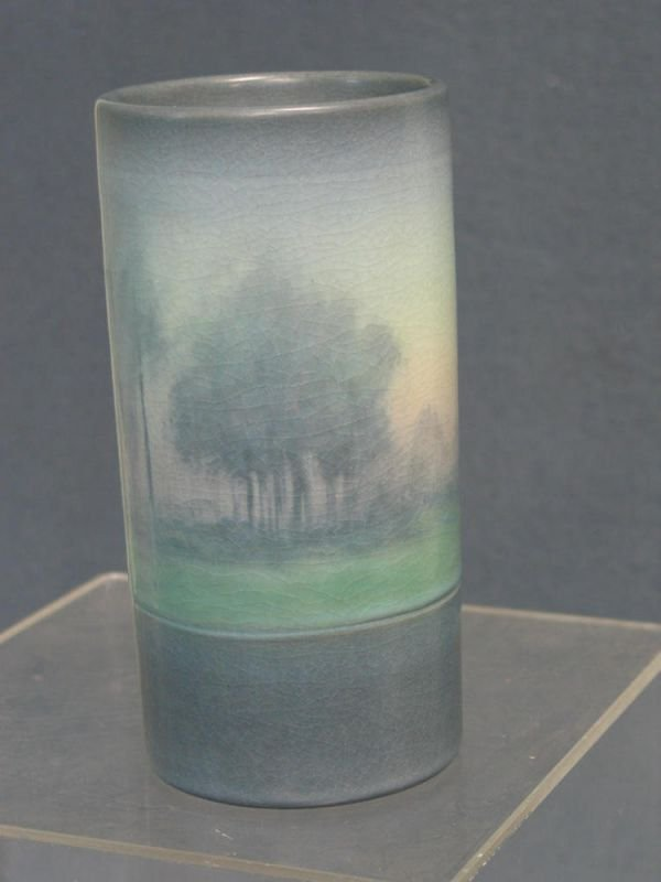 4183: Rookwood vellum cylindrical vase with landscape d