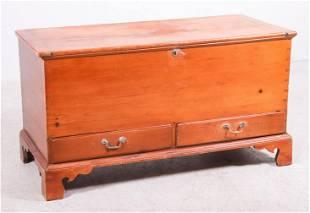 Dovetailed pine two door blanket chest