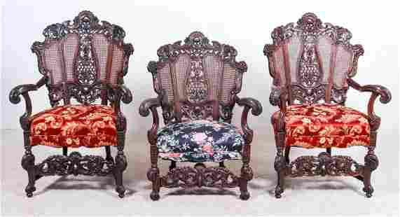 (3) Renaissance revival carved walnut chairs
