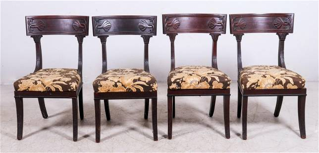 (4) Carved mahogany Federal dining chairs