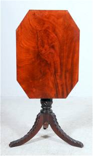 Carved Mahogany Federal tilt top candle stand