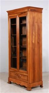 Victorian style cherry two door bookcase